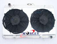 3Row Aluminum Radiator for Nissan Silvia S13 SR20DET & Fan Shroud & 12'' Fans