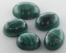 5 PIECES OF 8x6mm OVAL CABOCHON-CUT NATURAL AFRICAN MALACHITE GEMSTONES