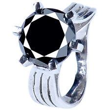 Side Rough Diamond Solitaire.925 Silver Ring 5.45 ct Black Moissanite & Bottom