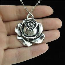 "7-4 18"" Silver Short Chain Collar Choker Necklace Growing Rose Flower Pendant"