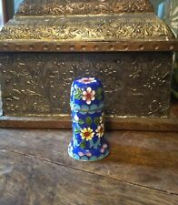 """Chinese Cloisonne Brass and Enamel Toothpick Match Holder Jar Container 3 1/4"""""""