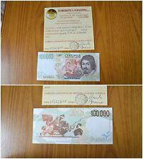 BANCONOTA LIRE 100000 CARAVAGGIO II TIPO 1997 conservazione qFDS SUBALPINA