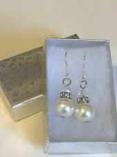 Hand crafted beaded earrings with faux pearl and cubic zirconia beads beautiful