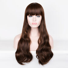 Woman Girl Wavy Dark Brown Long Large sepia hair Chestnut boutique Wig WIGS