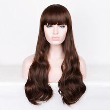 Black Woman Girl Wavy Dark Brown Long Large Size sepia hair Chestnut Wig wigs