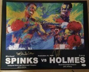 Larry Holmes & Michael Spinks signed 16x20 Neiman poster/photo JSA coa