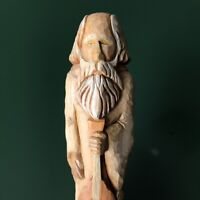 Hand Carved Wood Santa w/ Stringed Instrument Gallagher 2000 Folk Art 7 Inches