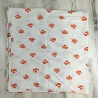 .Aden & Anais Baby Blanket White Orange Owls Swaddle Muslin Cotton