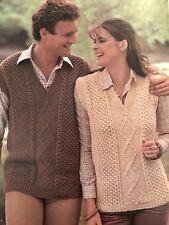M23 - Knitting Pattern - Lady's & Men's Aran Style Slipover Sleeveless Jumper