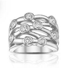 1.50 ct Ladies Round Cut Diamond Anniversary Ring In 18 kt Gold Bezel Setting