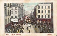 Vtg Early Postcard Argyle Street People Trolley Tobacco Store Glasgow Scotland