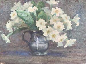 Attributed Marion Broom watercolour still life primroses