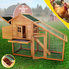 "Wooden 75"" Hen House Chicken Coop Poultry Cage Rabbit Hutch Backyard w/Nest Box"