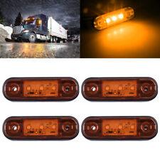 4X Amber 3-LED Side Marker Light Lamp Truck Trailer Camper RV Waterproof 12V-24V