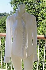 XS Cute White Blouse Express with rhine stone crystals