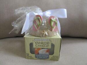 NEW Beachy Yankee Candle Holder W/12 Juicy Citrus & Sea Salt Scented Tea Lights