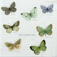 4x Paper Napkins for Decoupage Decopatch Vintage Butterflies
