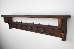 Handmade Wooden Pallet Coat Rack with Shelf Reclaimed Wood Vintage Cast Iron Coa