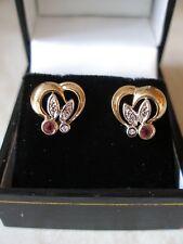 PAIR OF 9 CARAT GOLD RUBY & DIAMOND FANCY STUD EARRINGS MADE IN UK BRAND NEW