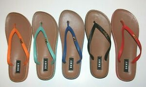 DKNY Madi Faux Leather Turquoise Thong Flip-Flops Black Red Blue Black Green New