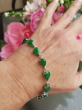 Natural Pear Cut Emerald Link Bracelet, Sterling Silver, 7.5 to 8.0