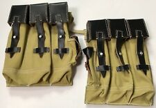 WWII GERMAN MP44 STG44 AMMO POUCHES- TAN CANVAS W/ BLACK LEATHER TOPS