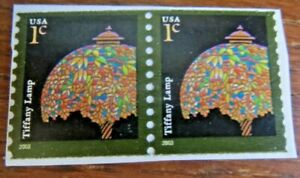 USA 1 cent stamp - Tiffany Lamp - 2 on strip - Scott #3758