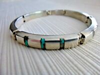 Vintage Taxco Mexico Sterling Silver Multi Color Stone Inlay Link Bracelet TS-87