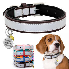 Dog Collar Reflective Personalized With ID Tag Engraved Name Customized Bulldog