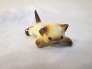 Vintage Hagen Renaker Stalking Siamese Cat Mini Figurine