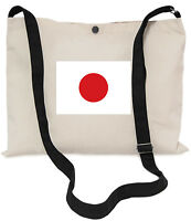 Japanese Flag Canvas Musette Bag 40x30cm, 150cm Long black adjustable strap