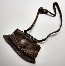Ancien briquet tibétain cuir de yack fer et laiton Tibet