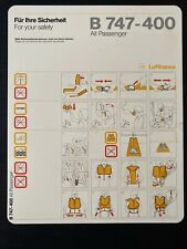 Lufthansa Boeing 747-400 All Passenger Safety Card 1/99