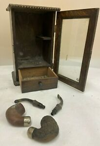 Vintage Wooden Tobacco Pipe Cupboard & 2 K & P Peterson Pipes  (D4)