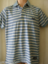 """Superdry Large 40"""" Chest Cloud Blue & White Stripe Polo Top"""