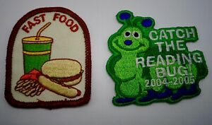 Enfants Collection à Coudre Patch Rapide Nourriture Lisant Bug Ensemble De 2