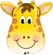 "Large Animal Head Face Foil Balloons Farm Jungle Birthday Party Decorations 32"" Jolly Giraffe"