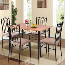 Modern 5 pcs Dining Room Set Wooden Table and 4 Cushioned Chairs Kitchen New