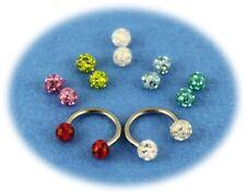 Pack piercing tragus anneau fer à cheval boule cristal titane 7 couleurs