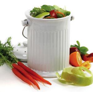 Norpro Ceramic Compost Crock & Lid - White 4 Qt.