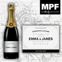 Personalised Engagement Champagne/Prosecco Bottle Label (Silver)