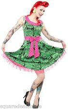 130288 Green Melting Monsters Dress Sourpuss Psychobilly Punk Bold Bow Medium M