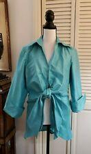 3 Sisters 100% silk tie front Topper Jacket Sz L - Aqua