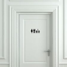 Toilet Sign Family Restroom - Door Sticker, Door Decal Bathroom Door Sign