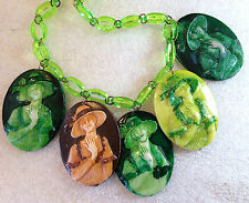 Vintage style Israeli early plastic cameos dangles necklace