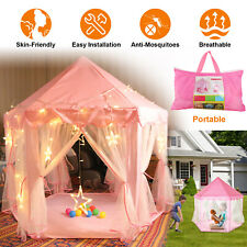 Girls Pink Princess Castle Tent Cute Playhouse Children Kids Play Tent Toys