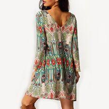 Vintage Retro Boho Sommer Strand Minikleid Shirt Langarm Kleid Gr. M 38