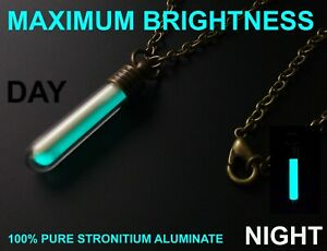 BRIGHTEST BLUE Glow In The Dark Necklace Money Can Buy Pure Strontium Aluminate