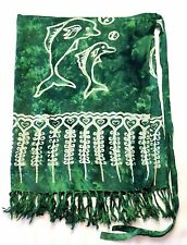 Green Short Dolphin Print BATIK SARONG Child/Teen/Ladies BEACH/POOL PARTY