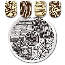 Round Nail Stamping Template Tree Ring Wood Grain Manicure Nail Art Image Plates